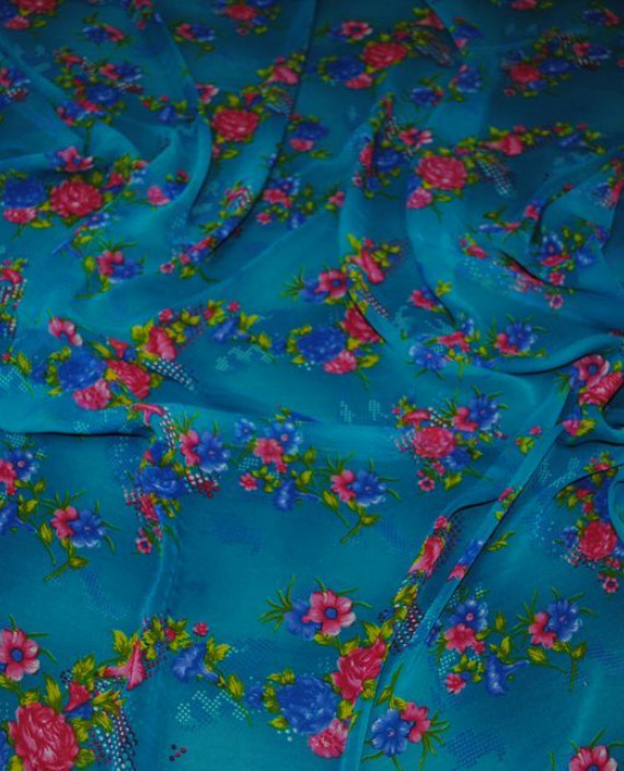 """Ткань Шифон """"Цветы на лазурном"""" 0013 цвет голубой цветочный картинка"""