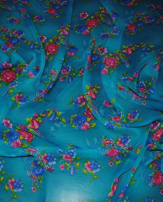 """Ткань Шифон """"Цветы на лазурном"""" 0013 цвет голубой цветочный картинка 1"""
