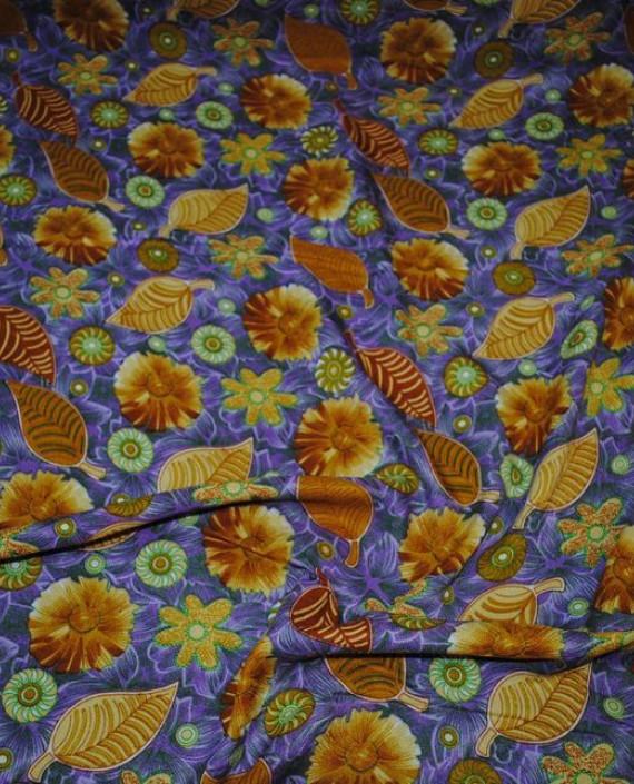 """Ткань Штапель """"Импровизация в коричневых тонах"""" 029 цвет синий цветочный картинка"""