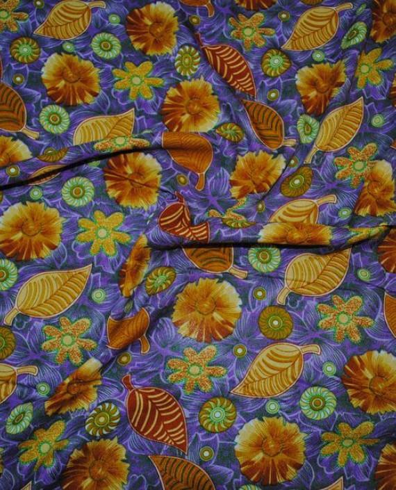 """Ткань Штапель """"Импровизация в коричневых тонах"""" 029 цвет синий цветочный картинка 2"""