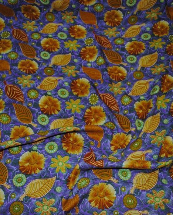 """Ткань Штапель """"Импровизация в коричневых тонах"""" 029 цвет синий цветочный картинка 1"""