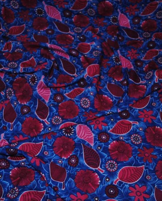 """Ткань Штапель """"Импровизация"""" 030 цвет синий цветочный картинка"""