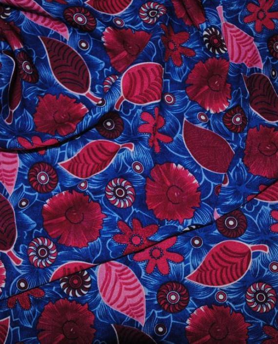 """Ткань Штапель """"Импровизация"""" 030 цвет синий цветочный картинка 1"""