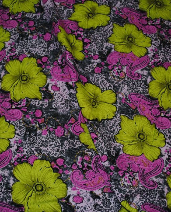 """Ткань Штапель """"Гиацинты"""" 034 цвет разноцветный цветочный картинка"""