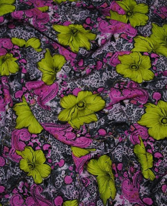 """Ткань Штапель """"Гиацинты"""" 034 цвет разноцветный цветочный картинка 2"""