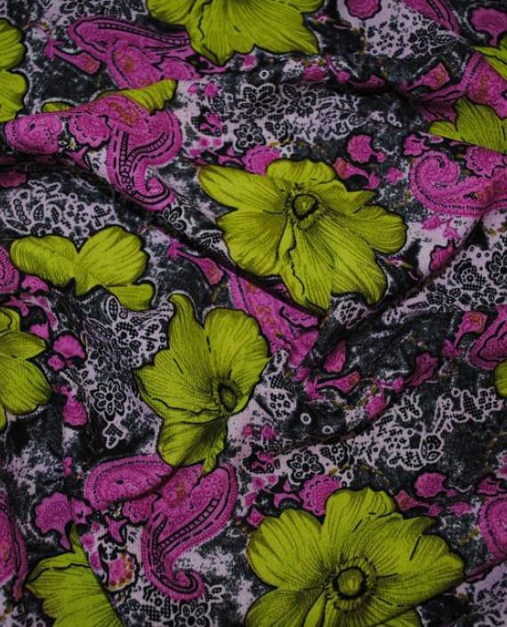 """Ткань Штапель """"Гиацинты"""" 034 цвет разноцветный цветочный картинка 1"""