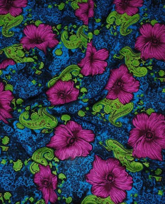 """Ткань Штапель """"Гиацинты на синем"""" 035 цвет синий цветочный картинка 2"""
