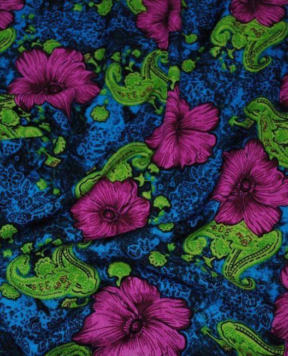 """Ткань Штапель """"Гиацинты на синем"""" 035 цвет синий цветочный картинка 1"""