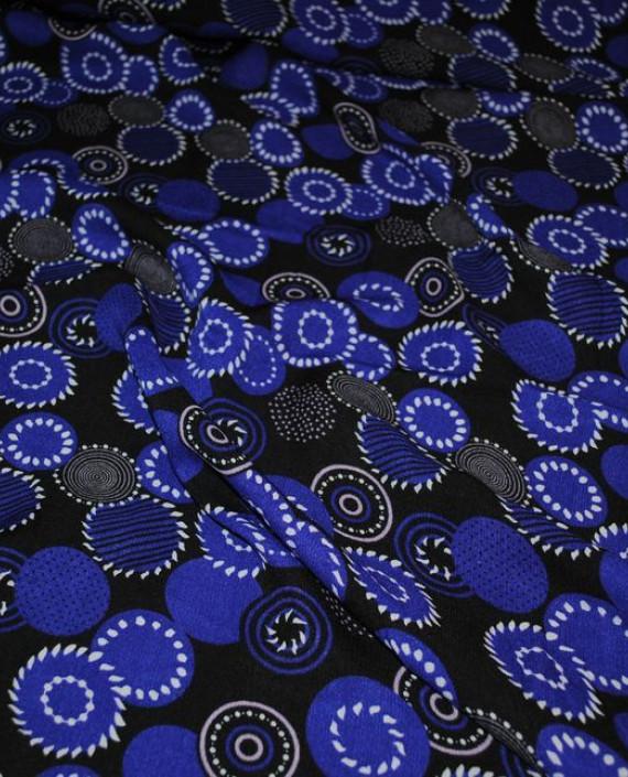 """Ткань Штапель """"Синие Сферы"""" 036 цвет синий геометрический картинка 1"""