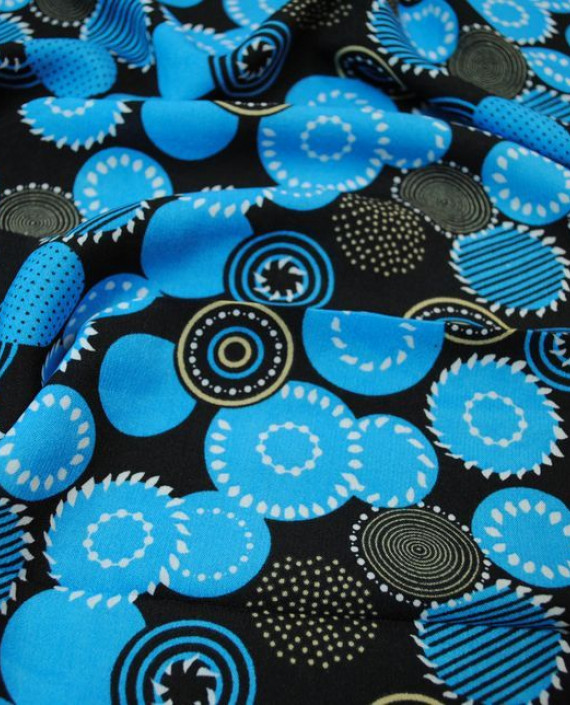 """Ткань Штапель """"Сферы"""" 037 цвет голубой геометрический картинка 1"""