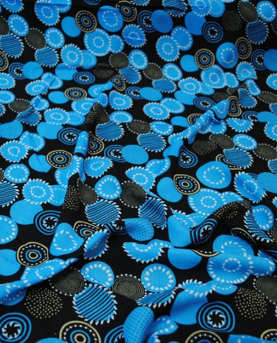 """Ткань Штапель """"Сферы"""" 037 цвет голубой геометрический картинка 2"""