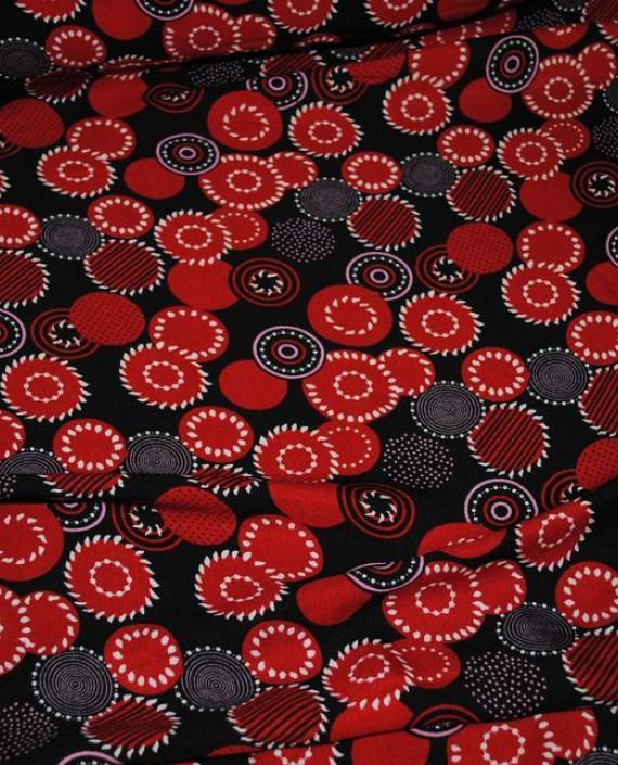 """Ткань Штапель """"Алые сферы"""" 038 цвет красный геометрический картинка 2"""