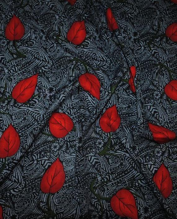 "Ткань Штапель ""Алые листья"" 039 цвет серый абстрактный картинка"