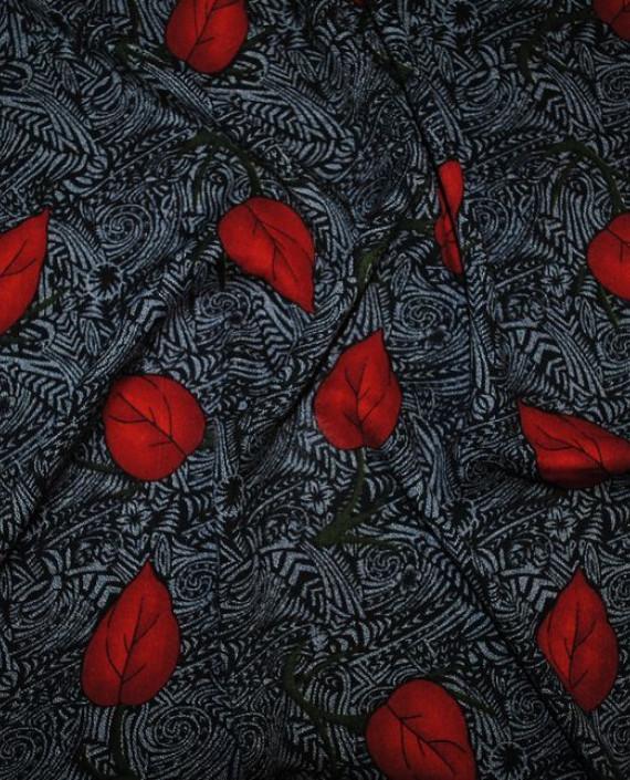 "Ткань Штапель ""Алые листья"" 039 цвет серый абстрактный картинка 1"