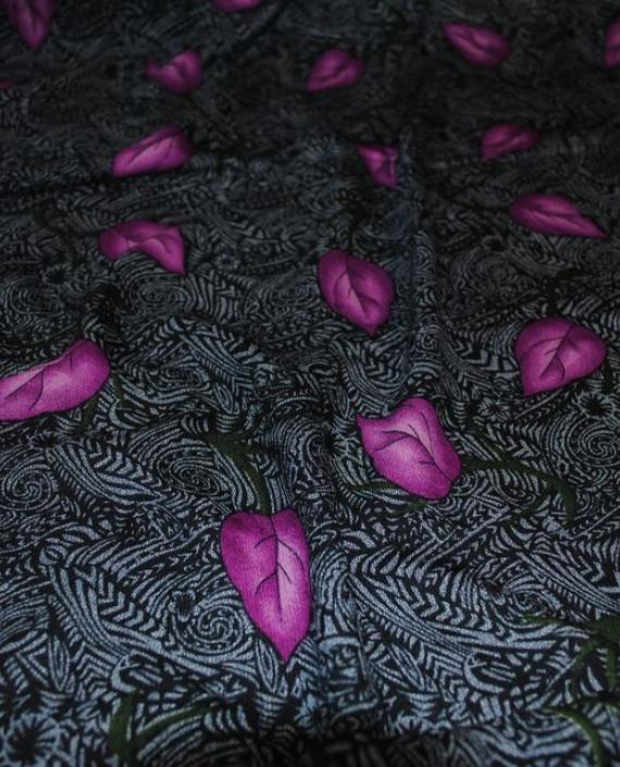 """Ткань Штапель """"Сиреневые листья"""" 040 цвет серый абстрактный картинка 1"""