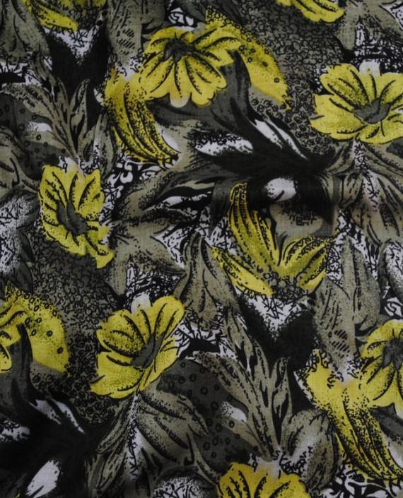 "Ткань Штапель ""Желтые маки"" 006 цвет желтый цветочный картинка"