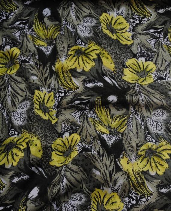 "Ткань Штапель ""Желтые маки"" 006 цвет желтый цветочный картинка 2"