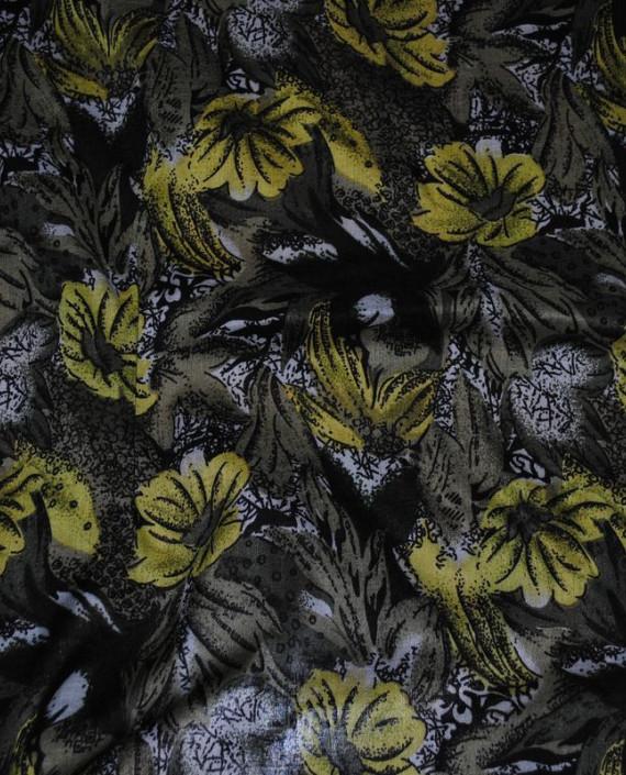 "Ткань Штапель ""Желтые маки"" 006 цвет желтый цветочный картинка 1"