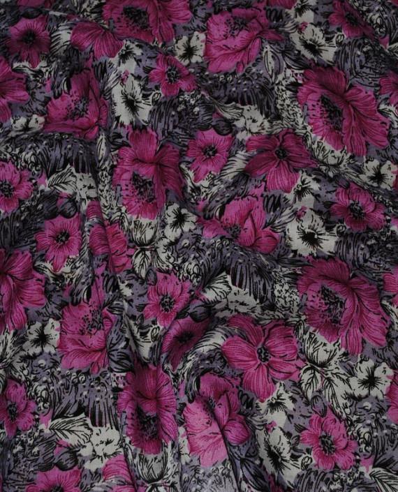"""Ткань Штапель """"Розовые маки"""" 007 цвет розовый цветочный картинка 1"""
