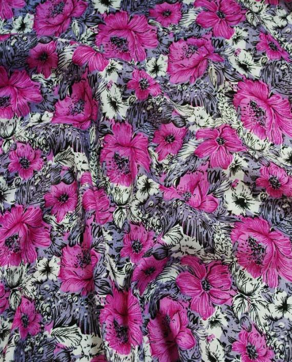 """Ткань Штапель """"Розовые маки"""" 007 цвет розовый цветочный картинка"""