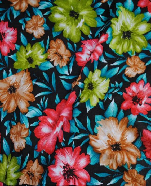"""Ткань Штапель """"Цветы - 10"""" 010 цвет бирюзовый цветочный картинка"""