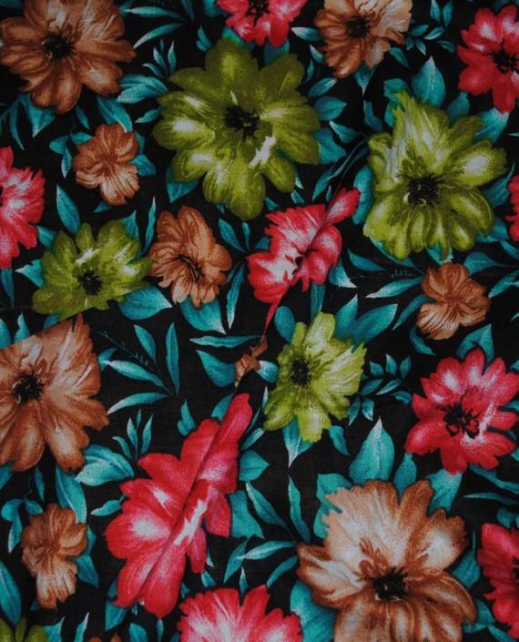 """Ткань Штапель """"Цветы - 10"""" 010 цвет бирюзовый цветочный картинка 1"""