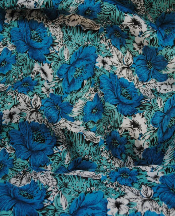"""Ткань Штапель """"Цветы - 12"""" 012 цвет голубой цветочный картинка"""