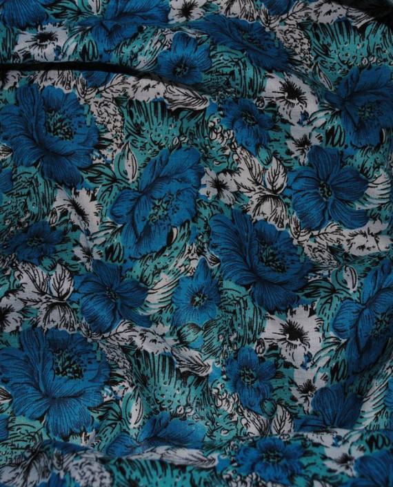 """Ткань Штапель """"Цветы - 12"""" 012 цвет голубой цветочный картинка 1"""