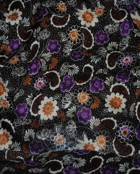 """Ткань Штапель """"Цветы - 13"""" 013 цвет черный цветочный картинка"""