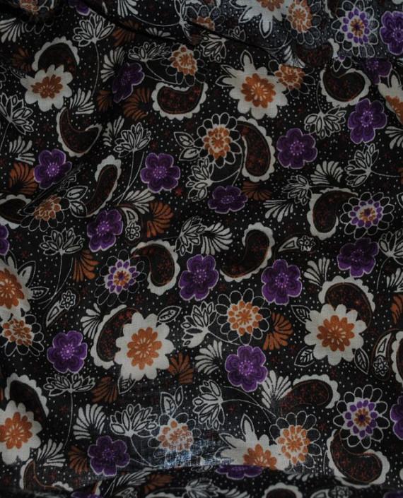 """Ткань Штапель """"Цветы - 13"""" 013 цвет черный цветочный картинка 1"""