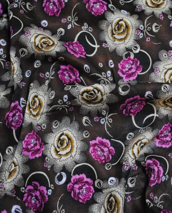 """Ткань Штапель """"Цветы - 14"""" 014 цвет коричневый цветочный картинка"""
