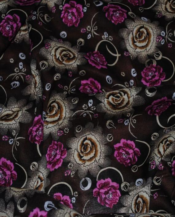 """Ткань Штапель """"Цветы - 14"""" 014 цвет коричневый цветочный картинка 2"""