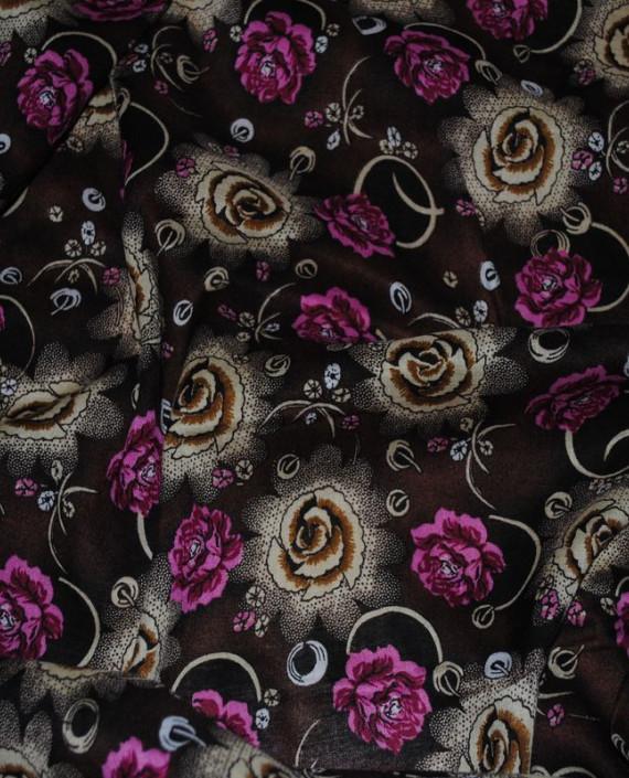 """Ткань Штапель """"Цветы - 14"""" 014 цвет коричневый цветочный картинка 1"""