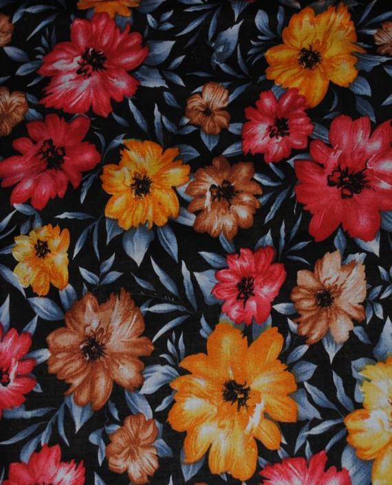 "Ткань Штапель ""Цветы - 15"" 015 цвет серый цветочный картинка 1"