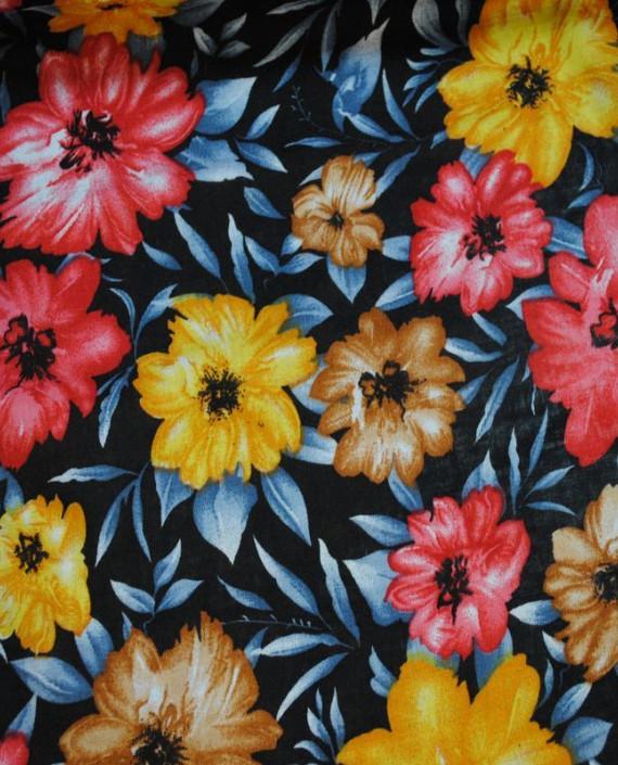 "Ткань Штапель ""Цветы - 15"" 015 цвет серый цветочный картинка 2"