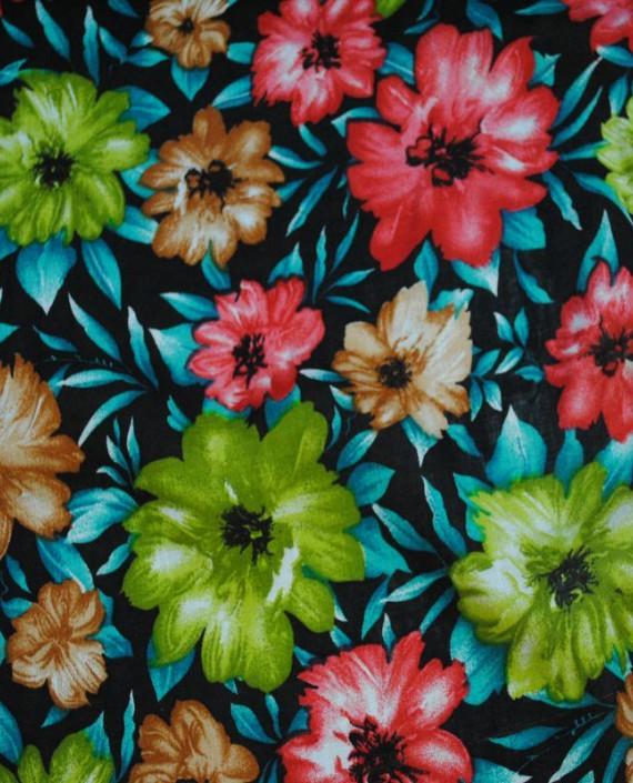 """Ткань Штапель """"Цветы - 16"""" 016 цвет разноцветный цветочный картинка"""