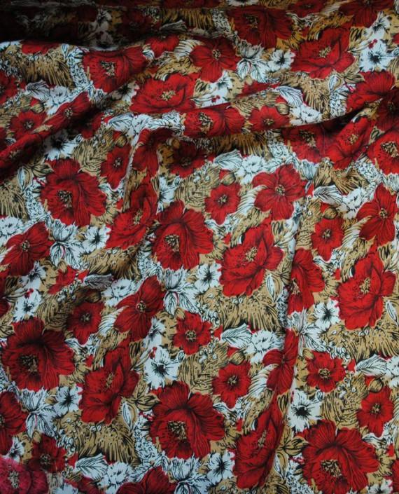 """Ткань Штапель """"Цветы - 18"""" 018 цвет красный цветочный картинка"""