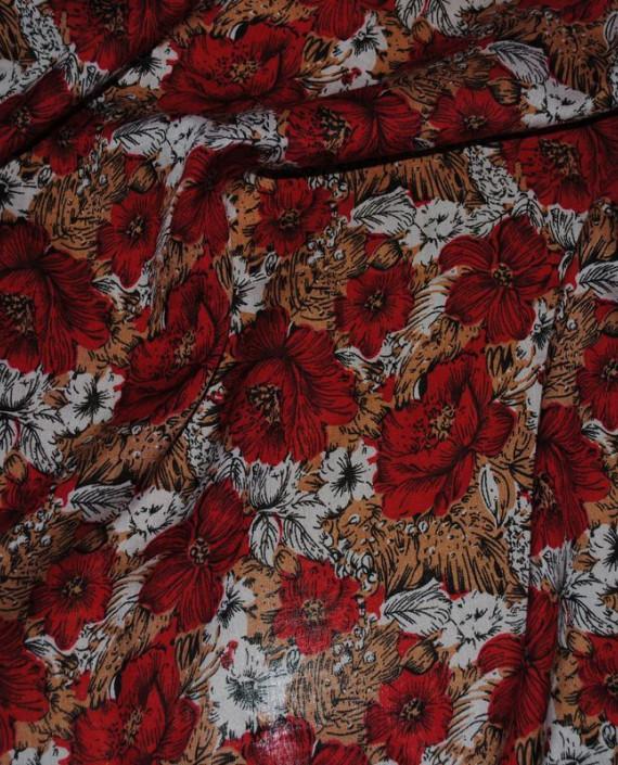 """Ткань Штапель """"Цветы - 18"""" 018 цвет красный цветочный картинка 2"""