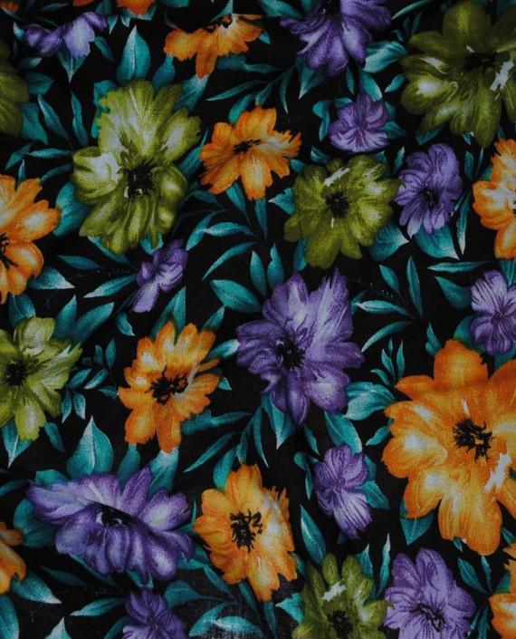 """Ткань Штапель """"Цветы - 19"""" 019 цвет бирюзовый цветочный картинка"""