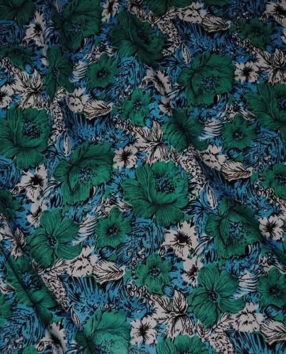 """Ткань Штапель """"Цветы - 20"""" 020 цвет зеленый цветочный картинка"""