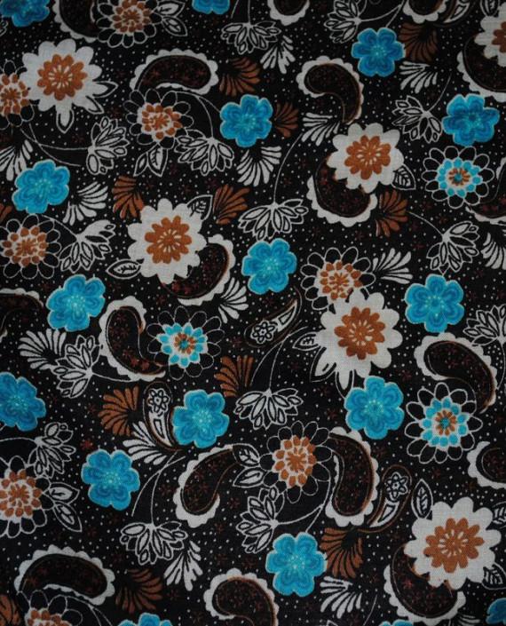 """Ткань Штапель """"Цветы - 21"""" 021 цвет черный цветочный картинка"""