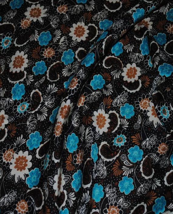 """Ткань Штапель """"Цветы - 21"""" 021 цвет черный цветочный картинка 2"""