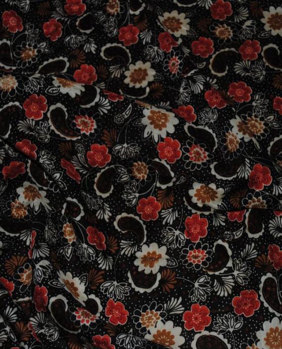 """Ткань Штапель """"Цветы - 22"""" 022 цвет черный цветочный картинка"""
