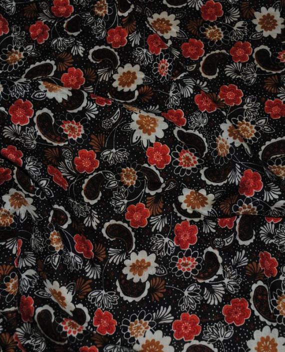 """Ткань Штапель """"Цветы - 22"""" 022 цвет черный цветочный картинка 1"""