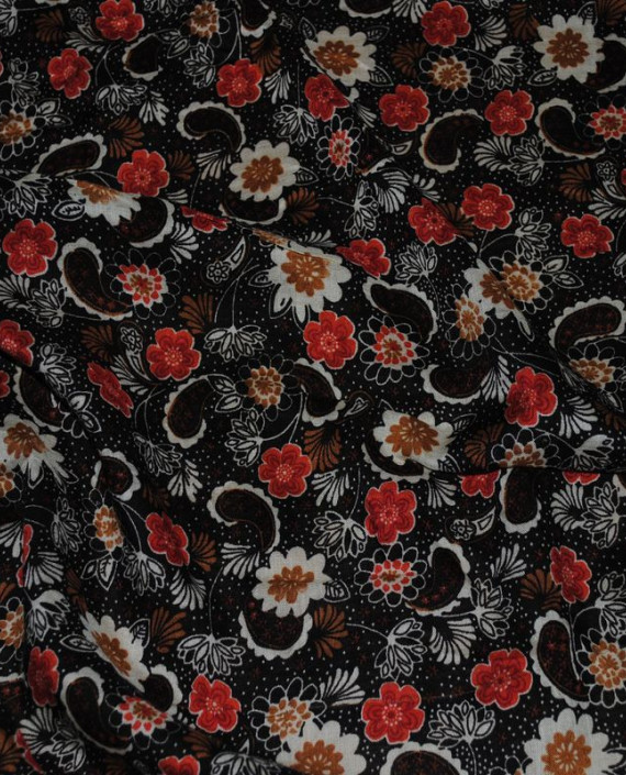"""Ткань Штапель """"Цветы - 22"""" 022 цвет черный цветочный картинка 2"""