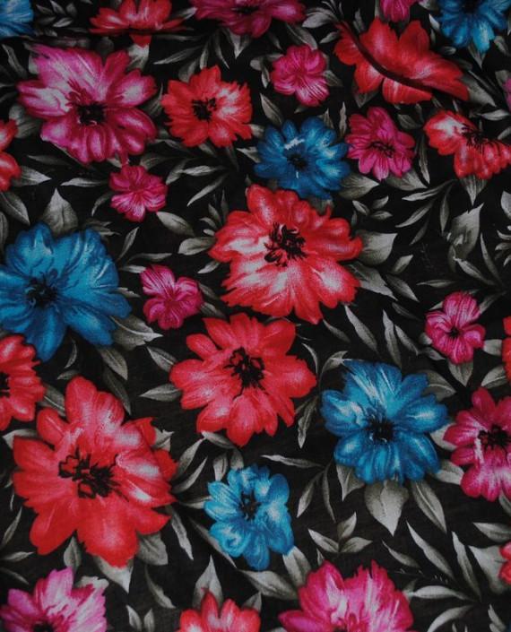 """Ткань Штапель """"Цветы - 24"""" 024 цвет черный цветочный картинка"""