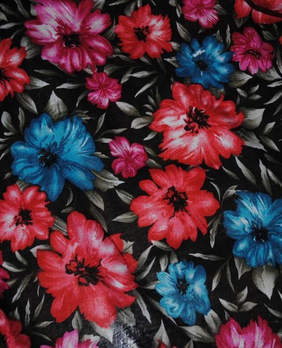 """Ткань Штапель """"Цветы - 24"""" 024 цвет черный цветочный картинка 1"""