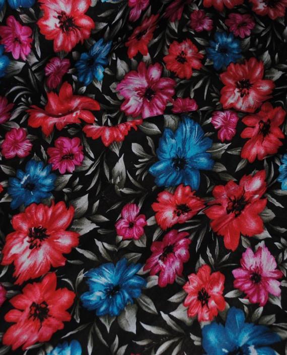"""Ткань Штапель """"Цветы - 24"""" 024 цвет черный цветочный картинка 2"""