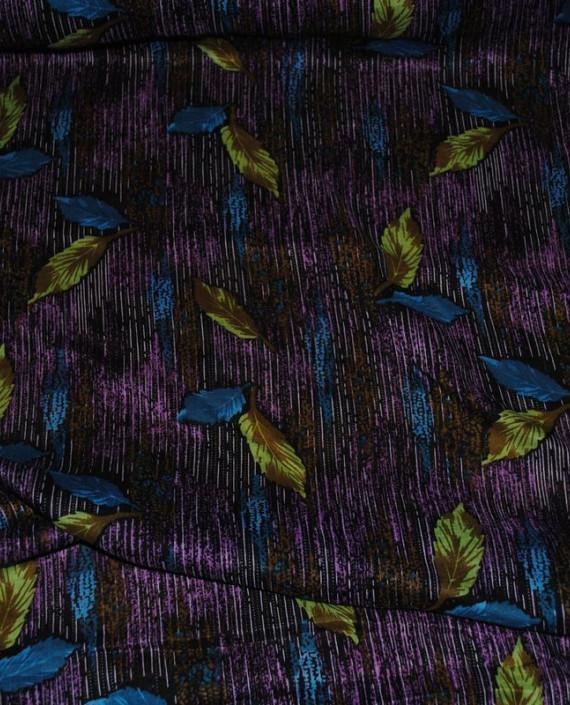 "Ткань Штапель ""Цветы - 25"" 025 цвет фиолетовый абстрактный картинка 1"