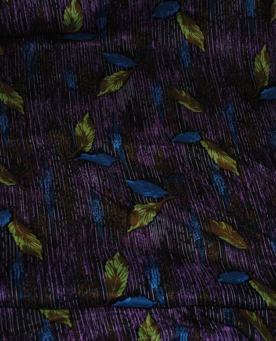 "Ткань Штапель ""Цветы - 25"" 025 цвет фиолетовый абстрактный картинка 2"